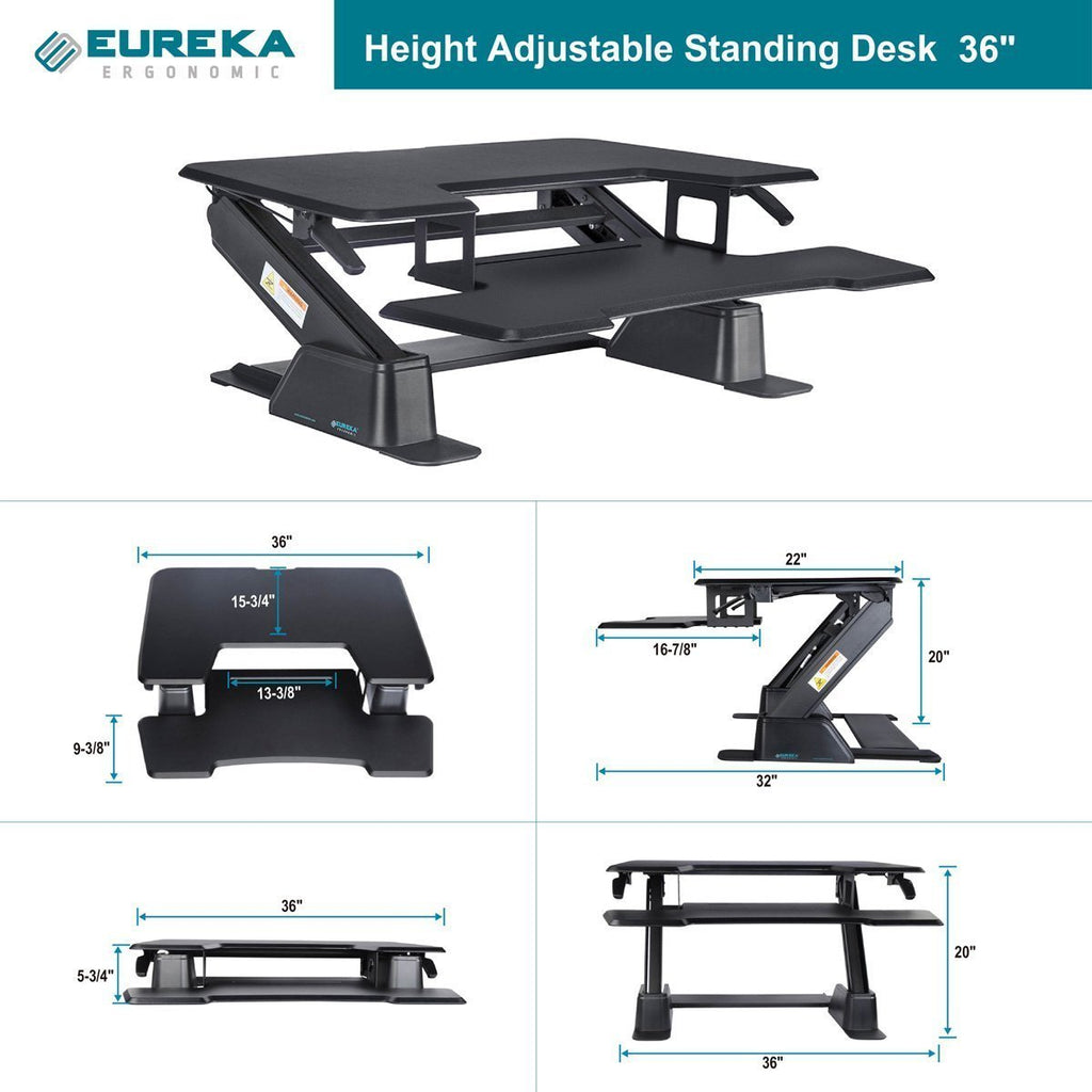 Eureka 36 Standing Desk Converter dimensional illustrations