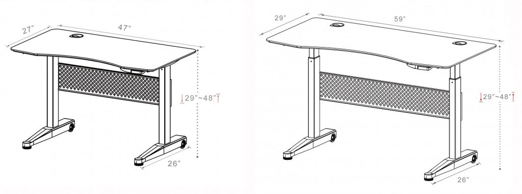 ApexDesk AirDesk Dimensions