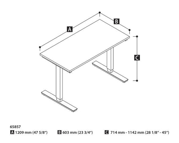 Bestar 24 x 48 Electric Table Dimensional Illustration