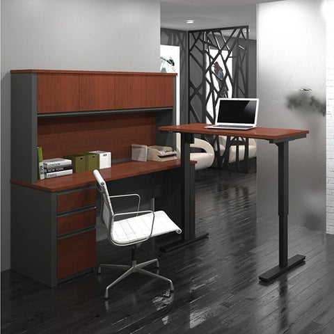 Bestar Prestige + L-Desk With Hutch 3D View Reverse View