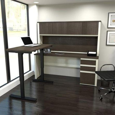 Bestar Prestige + L-Desk With Hutch 3D View