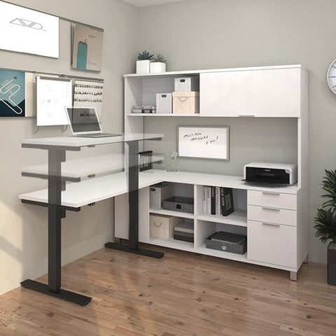 Bestar Pro-Linea L-Desk With Hutch 3D View