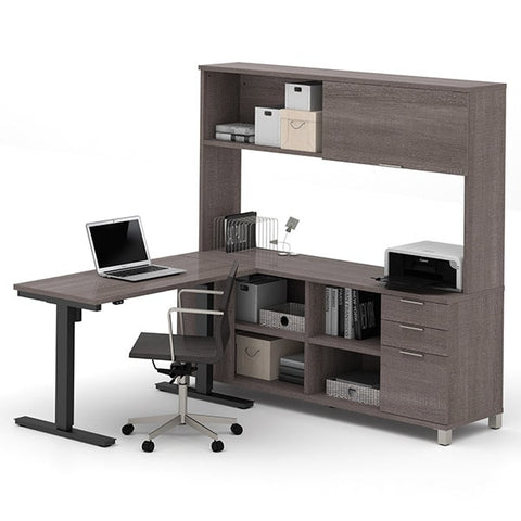Bestar Pro-Linea L-Desk With Hutch Bark Gray Sitting