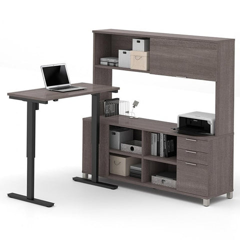 Bestar Pro-Linea L-Desk With Hutch Bark Gray