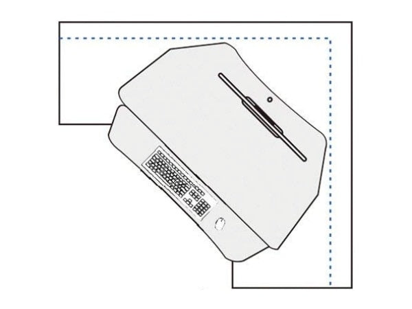 Corner Standing Desk Converter in a corner cubicle - drawing