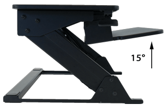iMovR Ziplift side view of sloping keyboard tray