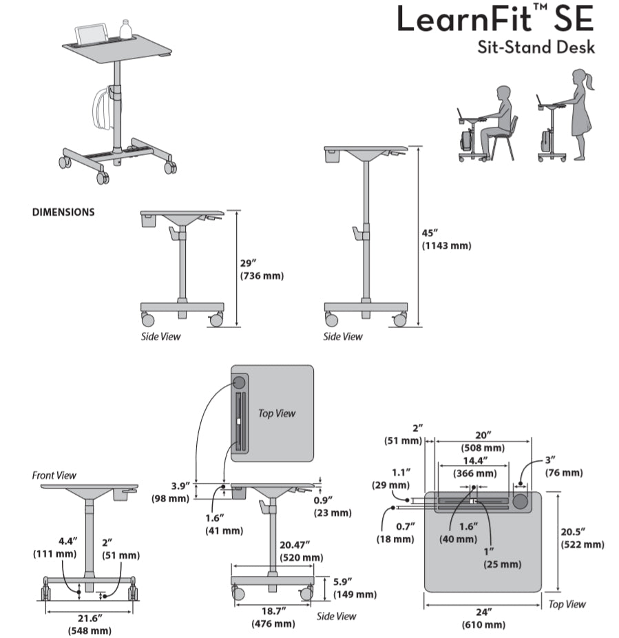 Ergotron LearnFit SE Dimensional Illustration