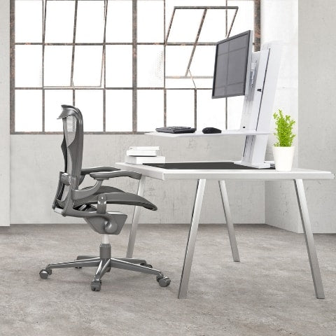 Ergotron WorkFit SR Dual Monitor Sit Stand Workstation 3D View White