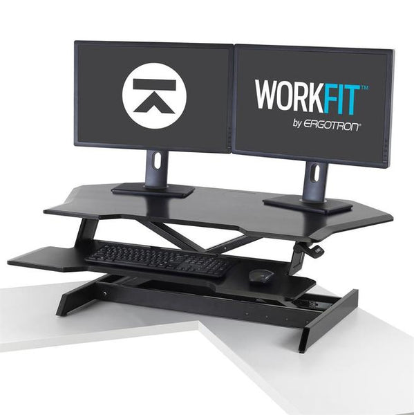 Ergotron Workfit Corner Standing Desk Converter on desk with 2 monitors