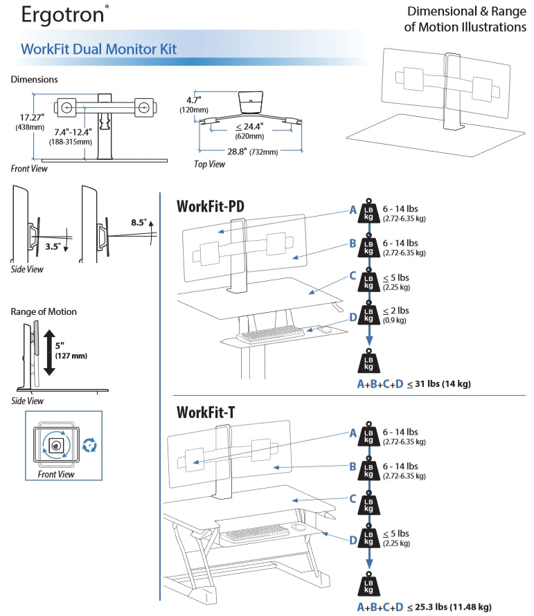Ergotron Workfit Dual Monitor Kit Dimensional Illustration