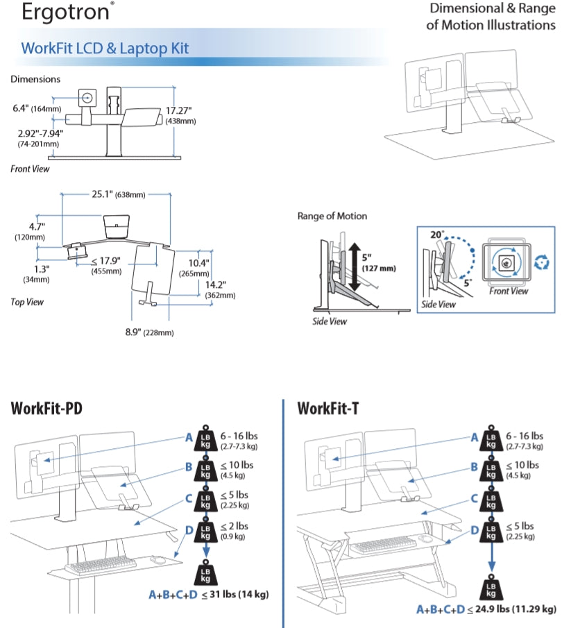Ergotron Workfit LCD & Laptop Kit Dimensional Illustration