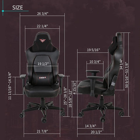 Eureka Black  Leather Gaming Chair Dimensions