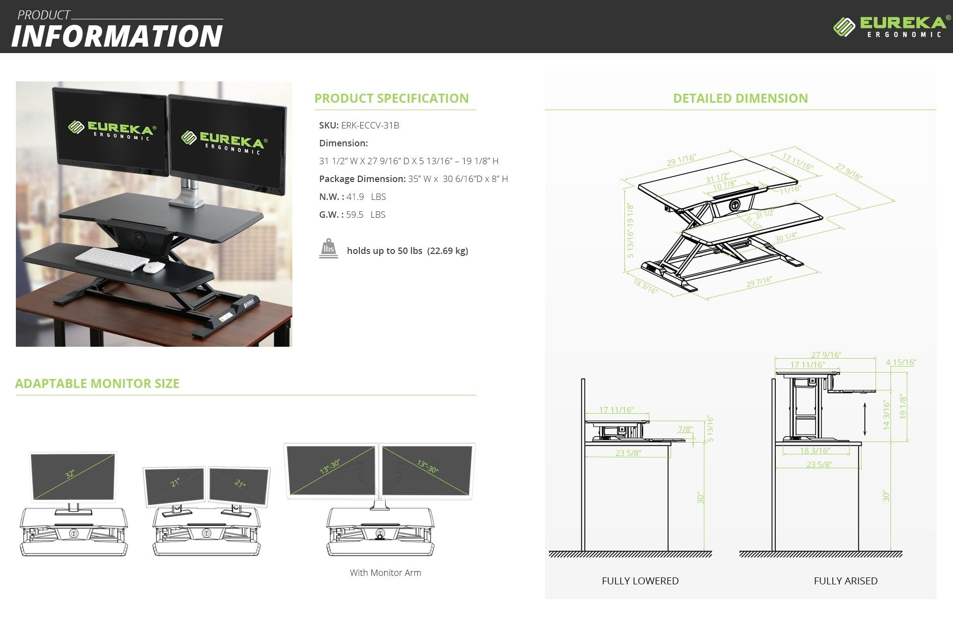 Eureka Electric Standing Desk Converter Dimensional Illustration