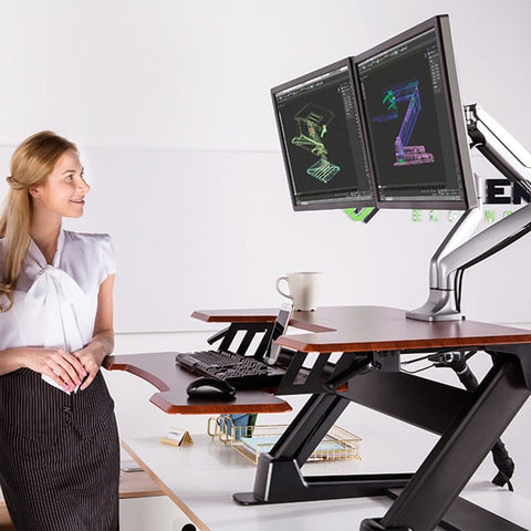 Eureka Ergonomic Standing Desk Converter 36 Cherry Side View Standing