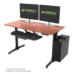 Eureka Height Adjustable Electric Standing Desk 3D View With Keyboard