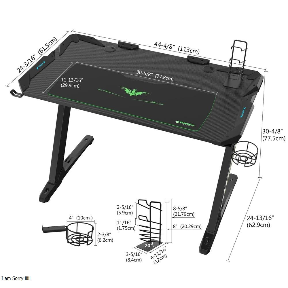 Eureka Z1-S Gaming Desk Dimensional Illustration