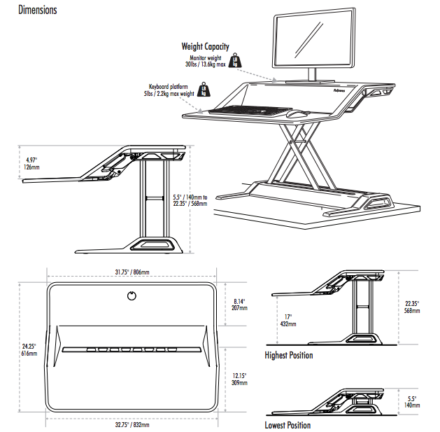 Fellowes Lotus Sit-Stand Dimensions