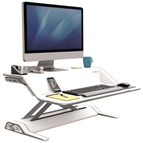 Fellowes Lotus Sit Stand Workstation with monitor facing right