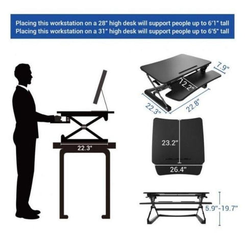 Flexispot M1B 27 inch Standing Desk Converter Height and Dimensions