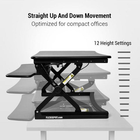 Flexispot M2 35 inch Standing Desk Converter lifting vertically