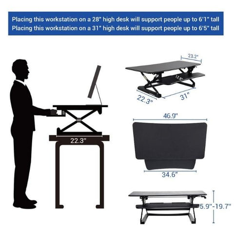 Flexispot M3B Standing Desk Converter Heights and Dimensions