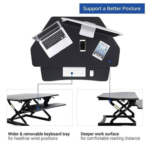 Flexispot M4 Corner Standing Desk Converter top view