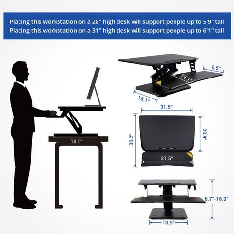 Flexispot M5M 32 inch Compact Standing Desk Converter Height and Dimensions