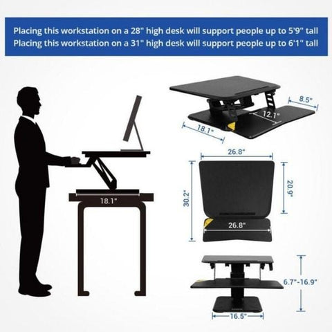 Flexispot M5 27 inch Compact Standing Desk Converter Height and Dimensions
