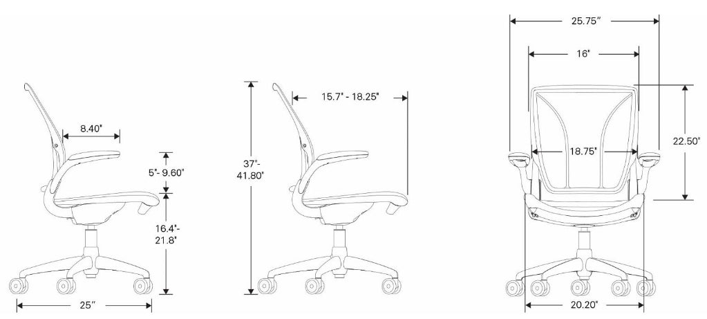 Humanscale Diffrient World Chair With Quick Ship Dimensions