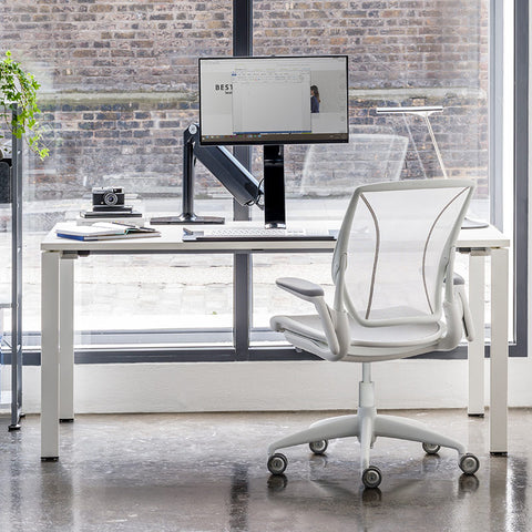 Humanscale Diffrient World Chair With Quick Ship Back View With Desk