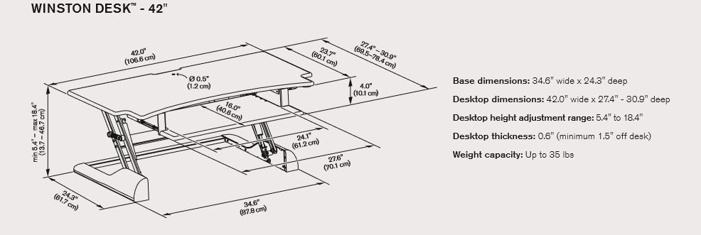 Innovative Winston Desk 42 Dimensional Illustration