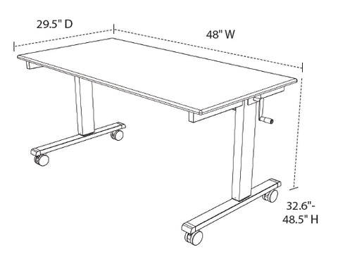 Luxor 48 Crank Adjustable Stand Up Desk Dimensional Illustration