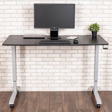 Luxor 60 Crank Adjustable Stand Up Desk Front View Single Monitor