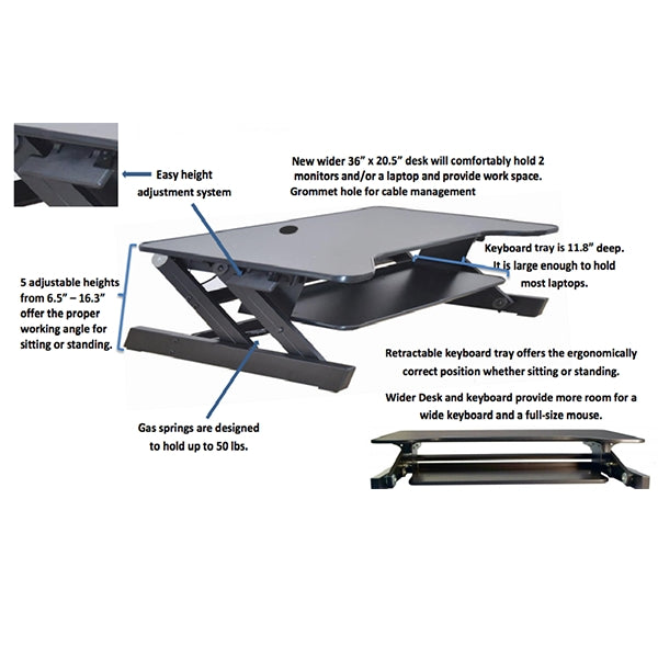 Rocelco Dadr Deluxe Adjustable Desk Riser Standing