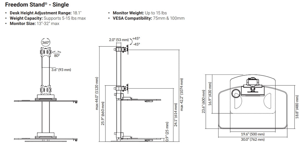 Ergotech Freedom Stand Dimensions