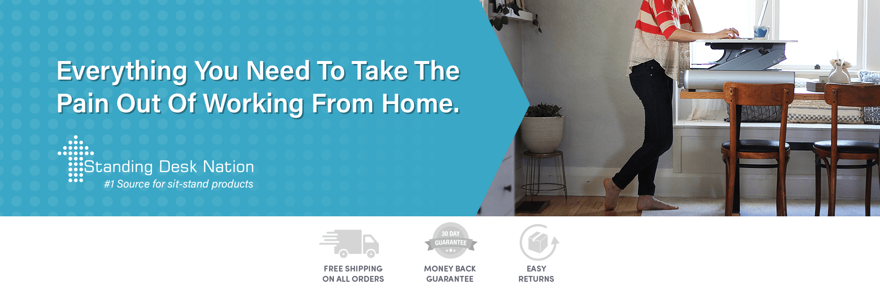 Standing Desk Nation home page banner with user standing at a dining room table