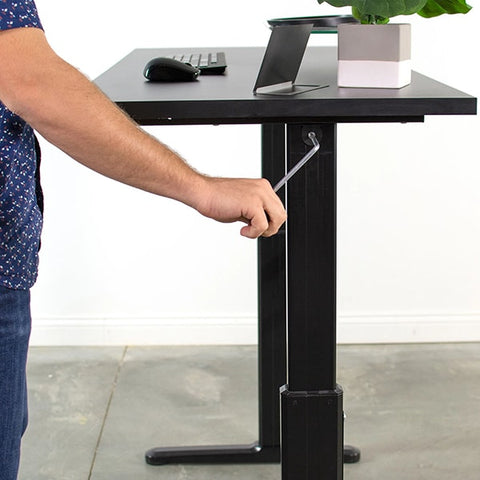 VIVO Black 55 Crank Height Adjustable Desk Turning Close Up