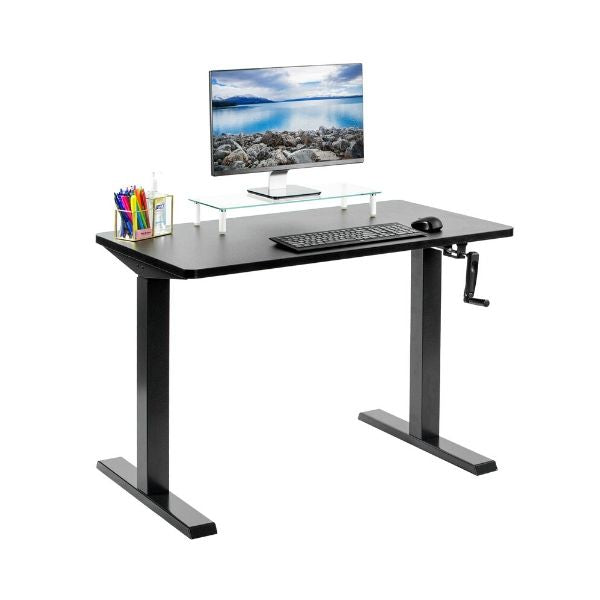 Black VIVO Crank Height Adjustable Desk with monitor