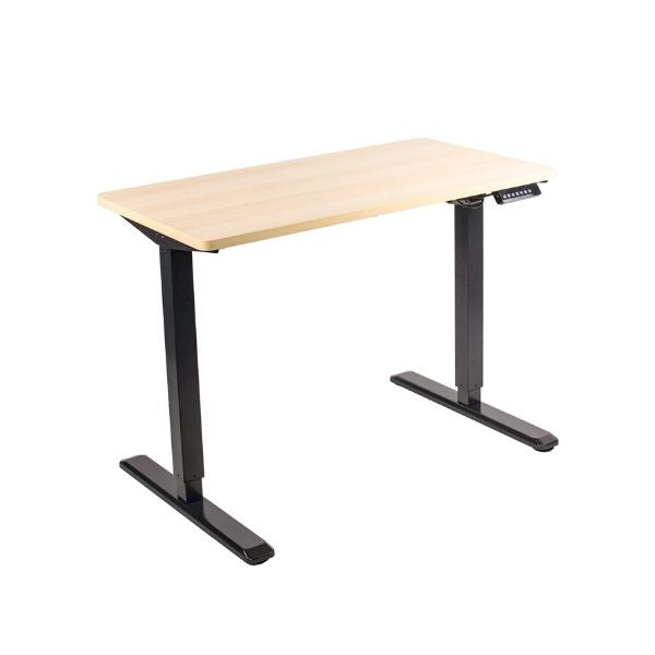 VIVO electric standing desk empty with light wood top