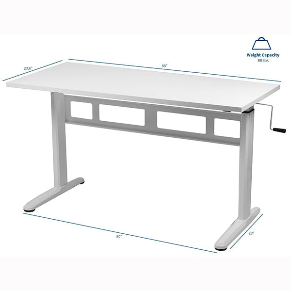 VIVO White 55 Crank Height Adjustable Desk Dimension