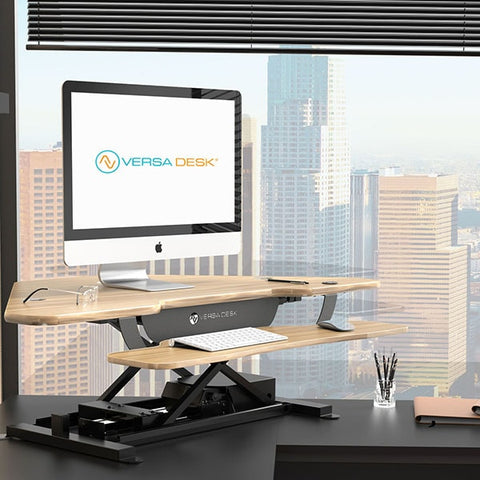 VersaDesk Power Pro Corner 36 inch Electric Standing Desk Converter 3D View  Environment