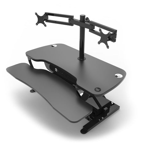 VersaDesk Universal Dual LCD Spider Monitor Arm Black 3D View On Desk