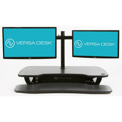 VersaDesk Universal Dual LCD Spider Monitor Arm Black Front View On Desk