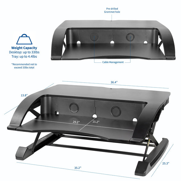 Vivo Desk-V000R 36_ Black Standing Desk Riser Dimension