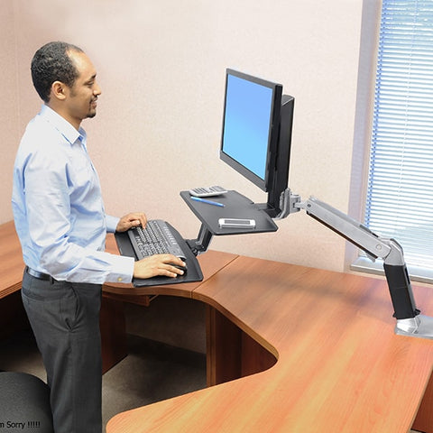 WorkFit-A Single LD Workstation with Suspended Keyboard Standing
