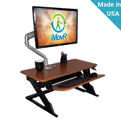 iMovR Ziplift Patriot Standing Desk Converter with 1 monitor on stand