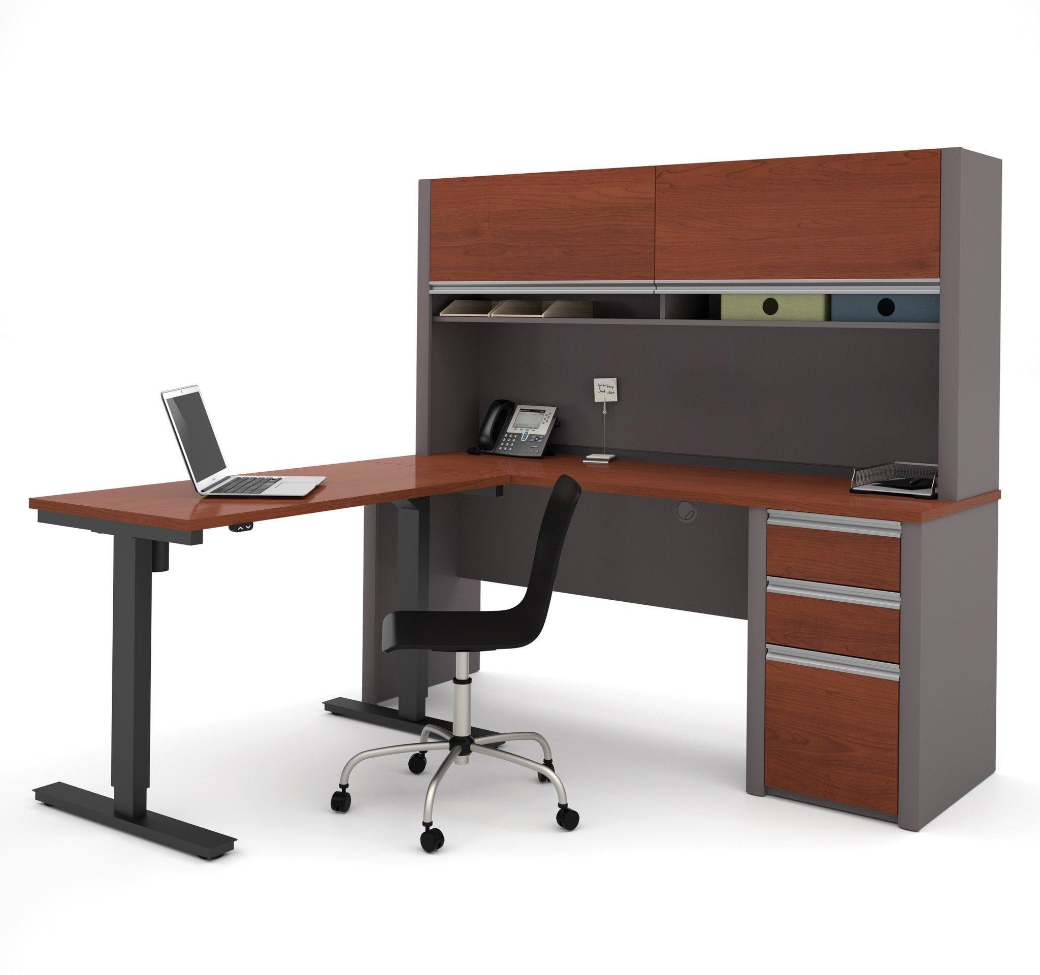 Bestar Connexion L Desk With Hutch & Electric Height Adjustable Table