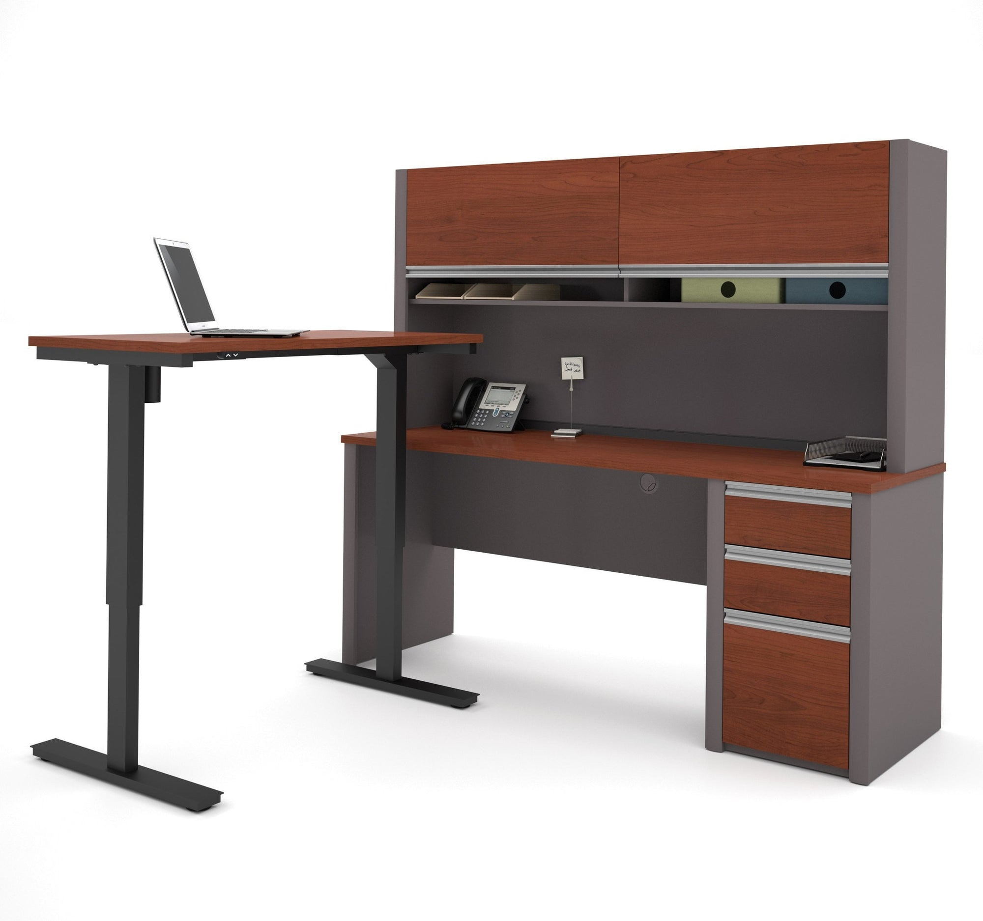 Bestar Connexion L-Desk with Hutch & Electric Height Adjustable Table - Standing Desk Nation