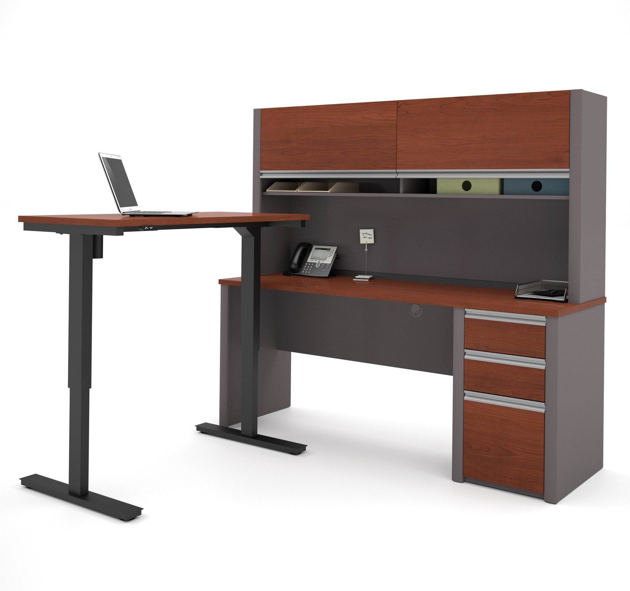 quality design e0a64 87182 Bestar Connexion L-Desk with Hutch & Electric Height Adjustable Table