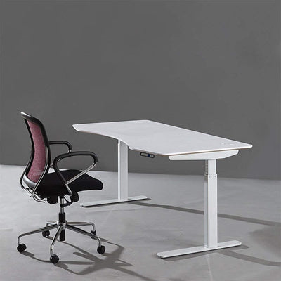 ApexDesk Elite Series 71 Moonlight White Desktop With White Frame 3D View With Chair
